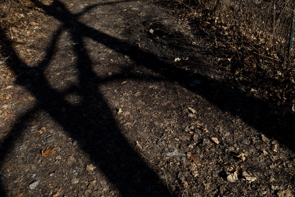 Shadows cut across the Putnam Trail in Van Cortlandt Park. The soon-to-be-paved trail touches an area where skeletons were found in the early 20th century believed to have belonged to African-American slaves.