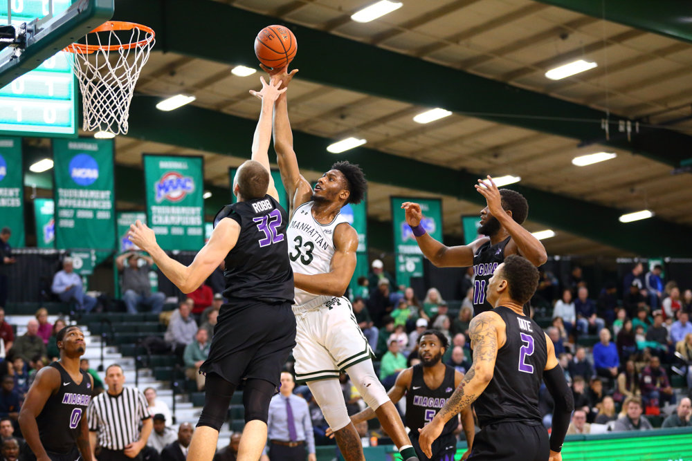 Manhattan junior forward Pauly Paulicap had a solid game in the Jaspers' win over Niagara, logging 10 points, four rebounds and two blocks.