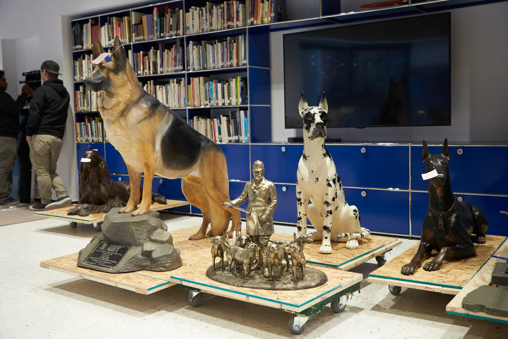 Replicas of different dog breeds sit at the American Kennel Club Museum of the Dog, a museum returning to Manhattan after spending more than 30 years in St. Louis. The museum reopens Feb. 8, offering visitors a chance to explore dog paintings and interactive exhibits.