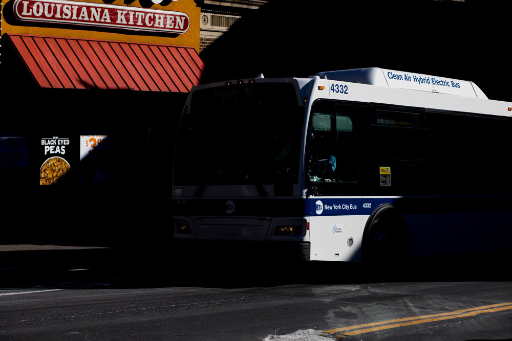 A Bx7 bus approaches the West 231st Street stop off Broadway. The MTA reportedly receives up to $170 million in monthly reimbursements from the Federal Transit Administration. But if what is now the longest partial government shutdown in history continues, the MTA may be forced to borrow money.