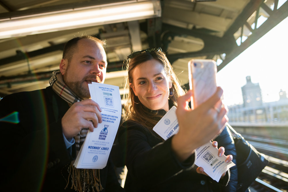 State Sen. Alessandra Biaggi records a video for her Instagram account with city council Speaker and acting public advocate Corey Johnson at the West 238th Street 1 train station during the final day of Johnson's five-day, five-borough transit tour Jan. 11. Their aim was to gather input from riders about how their commutes could be better.