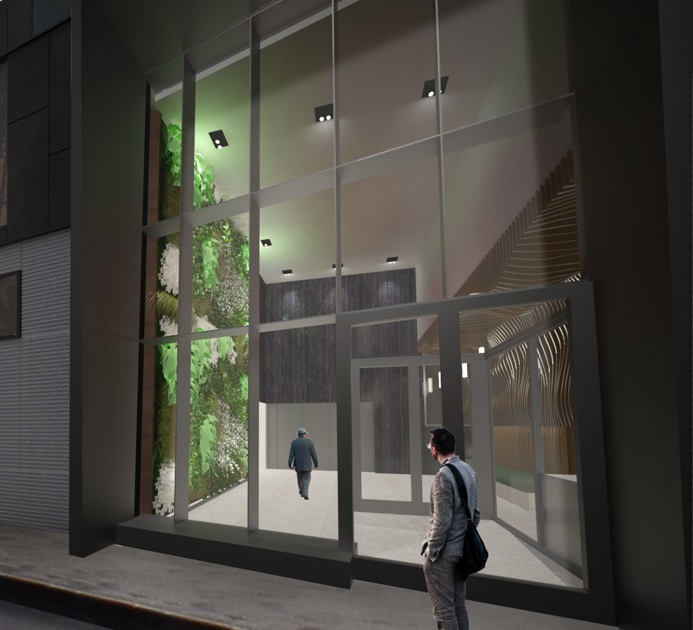 A rendering shows a close-up of the entrance to Arthur Avenue Apartments, an affordable housing complex for senior citizens planned for Belmont. The Hebrew Home at Riverdale is collaborating with developer Foxy Management to design the apartments.