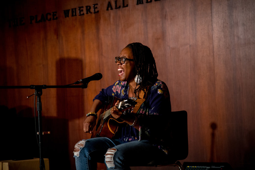Lindsey Wilson performs acoustic songs last September during Coffee House at Ethical, a performance series run by the Riverdale-Yonkers Society for Ethical Culture. The society will run a workshop on the history of racism in America on Feb. 10.