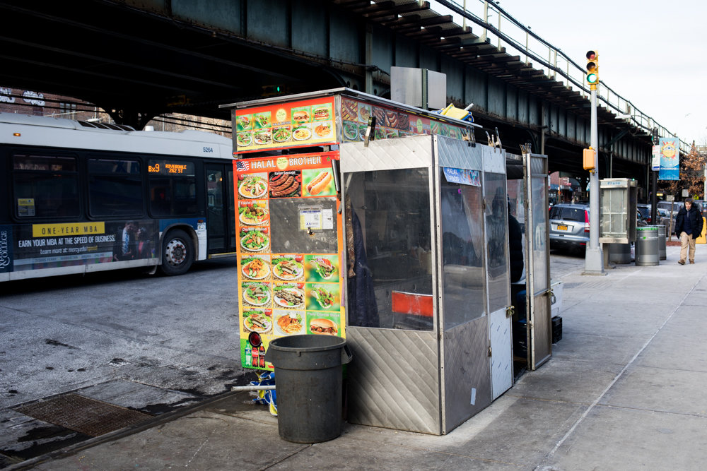 The Halal Brother food cart is a staple on Broadway just south of West 231st Street in Kingsbridge. Rachid Tahzima, who runs the cart, isn't opposed to the city health department's rollout of letter grades for food carts, which have been a fixture in restaurant windows for years. Tahzima's customers know their halal guy runs a tight ship and anticipate an A.