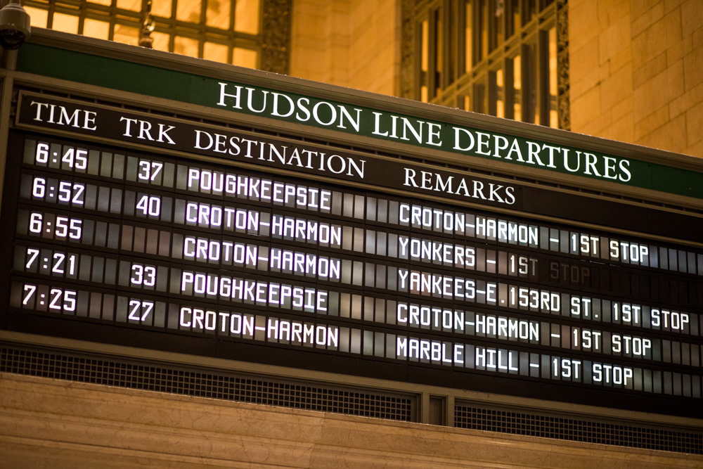 A timetable displays departure times for trains along the Metro-North's Hudson line, which currently serves the western side of the Bronx. The railroad recently struck a deal with Amtrak to expand eastward.