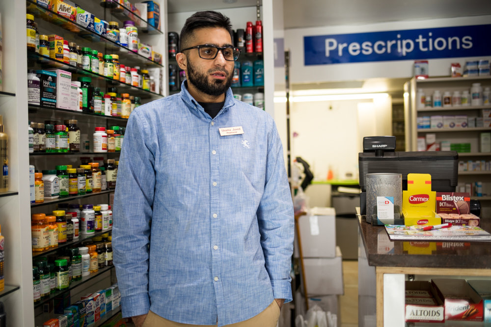 Usama Javed, pharmacist at Friendly Pharmacy on West 231st Street, says he aims to help people live healthier lives, not offer them something that could potentially kill them, like cigarettes. That's why Friendly's owner never has sold them in the three years or so they've been in business in Kingsbridge.
