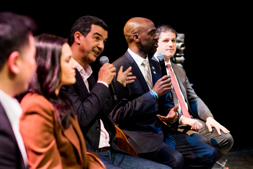 Councilman Ydanis Rodriguez, center, and Assemblyman Michael Blake spar during a televised debate at Lehman College. Both Rodriguez and Blake are candidates for public advocate. The special election will be held on Feb. 26.