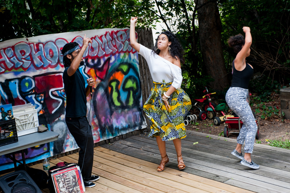 People dance to 'Rapper's Delight,' a song by The Sugarhill Gang, at the summer jam on the last day of Hip-Hop Summer School at the Kingsbridge Heights Community Center in 2017. The center celebrates its 45th anniversary this year.