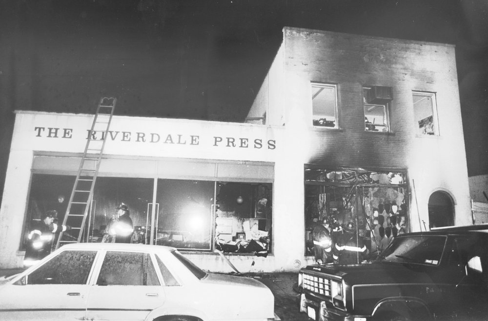 The Broadway office for The Riverdale Press stands after being firebombed on Feb. 28, 1989, following an editorial defending the right to read (and