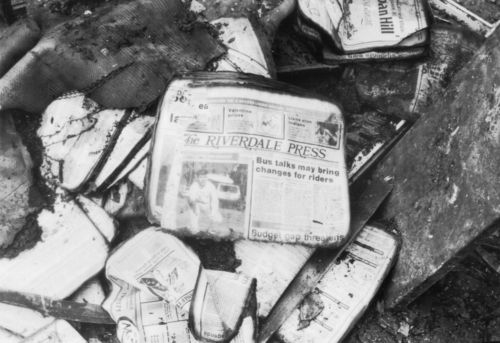 Charred copies of The Riverdale Press rest among burned detritus in the Broadway office of The Press in the aftermath of the Feb. 28, 1989,  firebombing.