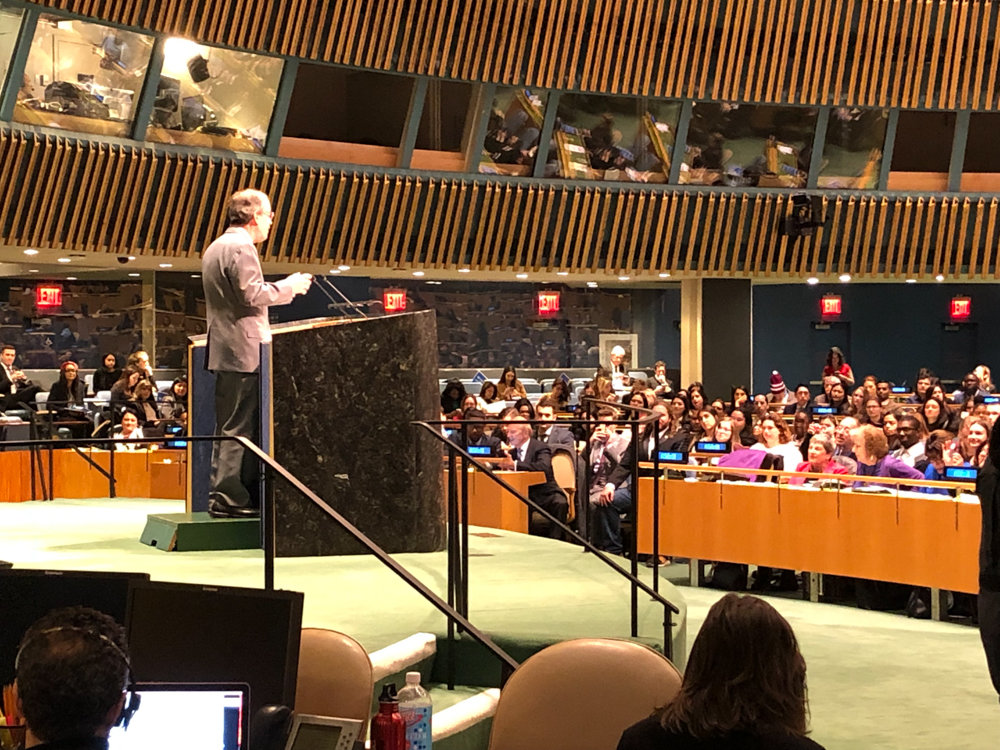 U.S. Rep. Eliot Engel addresses more than 1,500 college students from around the country at the 2019 Global Engagement Summit, hosted by the United Nations