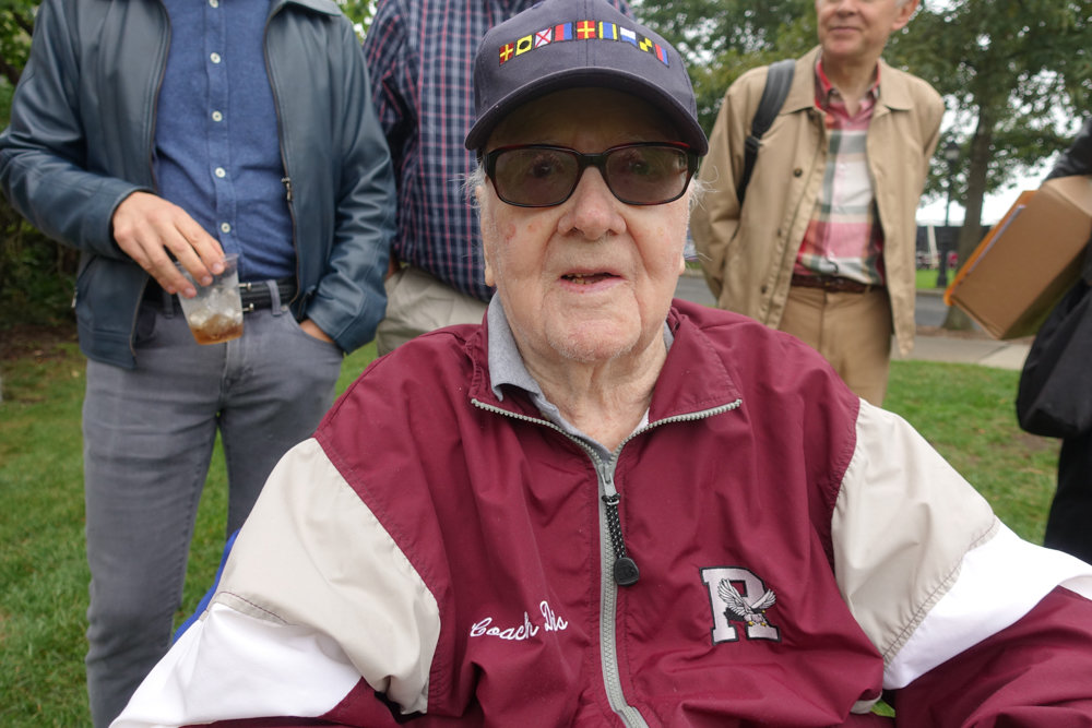 Al Davis attends homecoming at Riverdale Country School in 2017. Davis worked as a physical education teacher and a coach at the school for most of his life. He died Feb. 6 at 94.