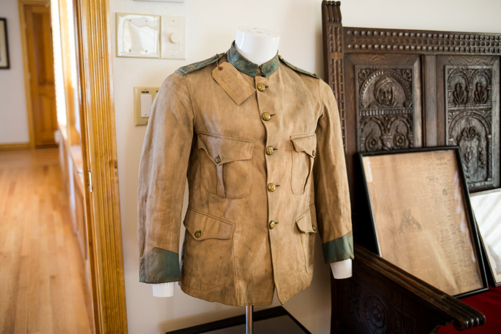 A military uniform from the Spanish-American War is among the artifacts on display in the Fieldston headquarters for the Old Guard of the City of New York. The Old Guard is a veterans organization that is largely ceremonial and dedicated to preserving New York's military history.