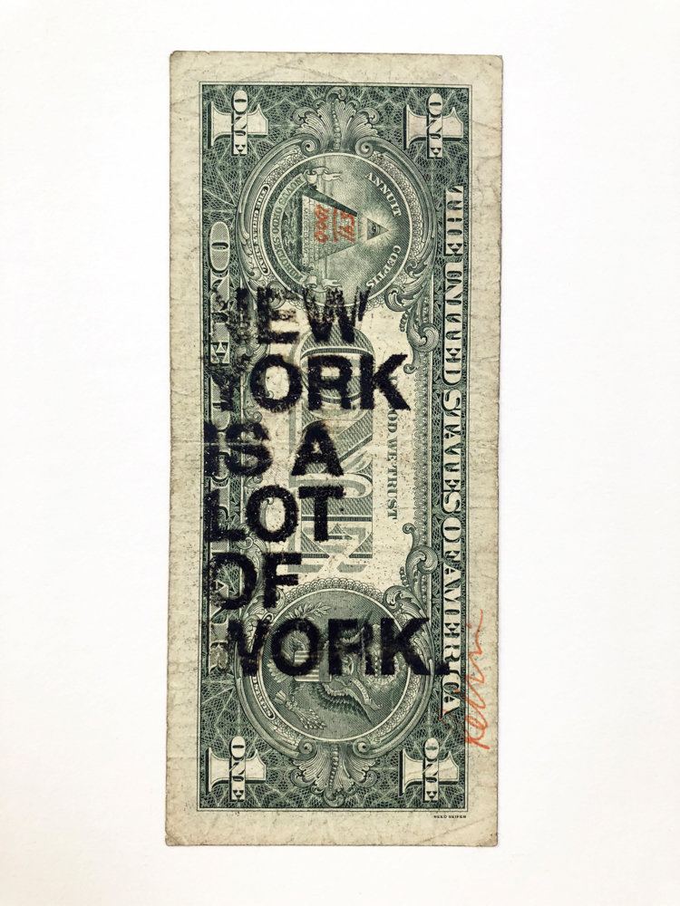 Reed Seifer makes a political statement about the cost of living in New York City in 'New York is a Lot of Work.' His piece is part of 'Mediums of Exchange,' a joint exhibition about money on display at the Lehman College Art Gallery and the Borough of Manhattan Community College's Shirley Fiterman Art Center.
