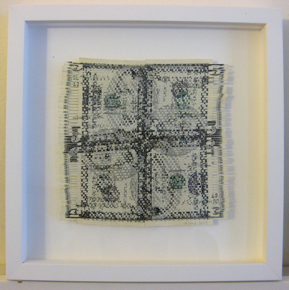Oriane Stender is just one of more than 30 artists featured in 'Mediums of Exchange,' a joint exhibition about money on display at the Lehman College Art Gallery and the Borough of Manhattan Community College's Shirley Fiterman Art Center that explores the significance of money. Stender's '$20 Weaving (New Fives)' is on display at the Lehman gallery through May 4.