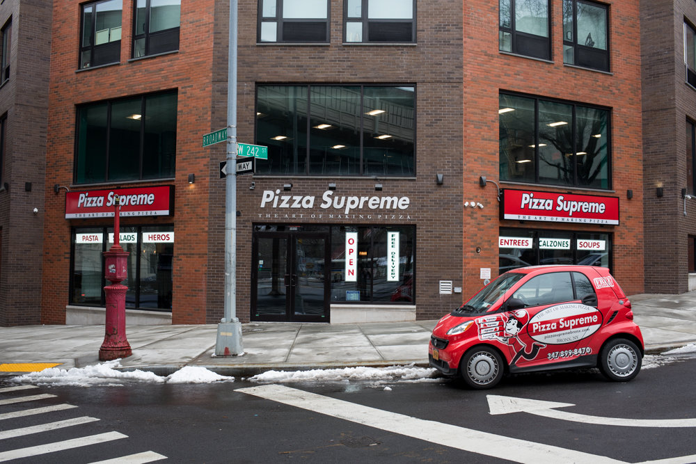 Pizza Supreme opened last December, and business has gradually picked up since then, according to owner Federico Guglielmo. He says his new shop offers a balance of the pizza traditions of Naples, Italy, with the territorial passions of the New York pizza scene.