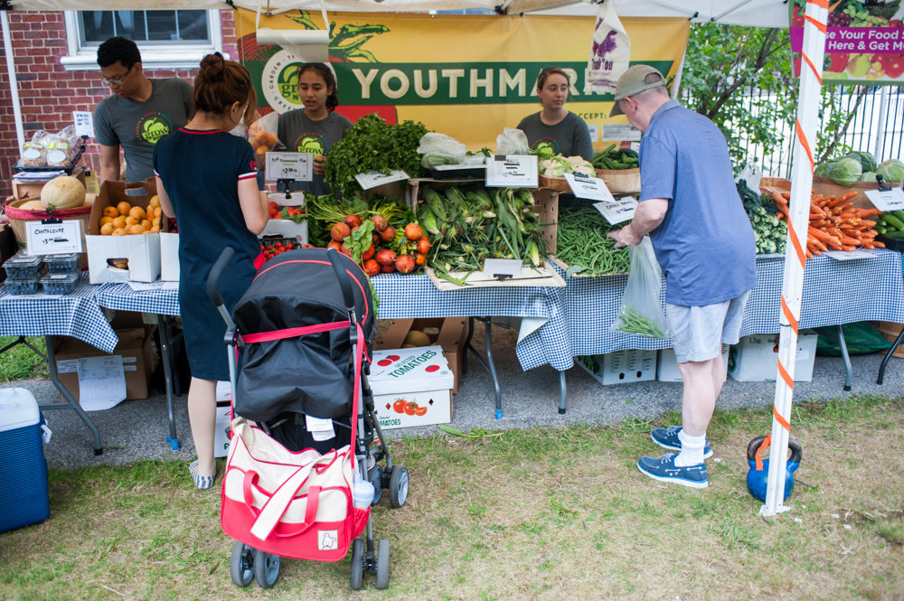 Customers purchase fruits and vegetables at the Youth Market at the Riverdale Neighborhood House in 2017. Finding the freshest produce is getting a little easier thanks to city council Speaker Corey Johnson, who's created an interactive 'farm-to-city' map to help people stock their fridge with fresh produce. The map highlights more than 300 locations citywide.