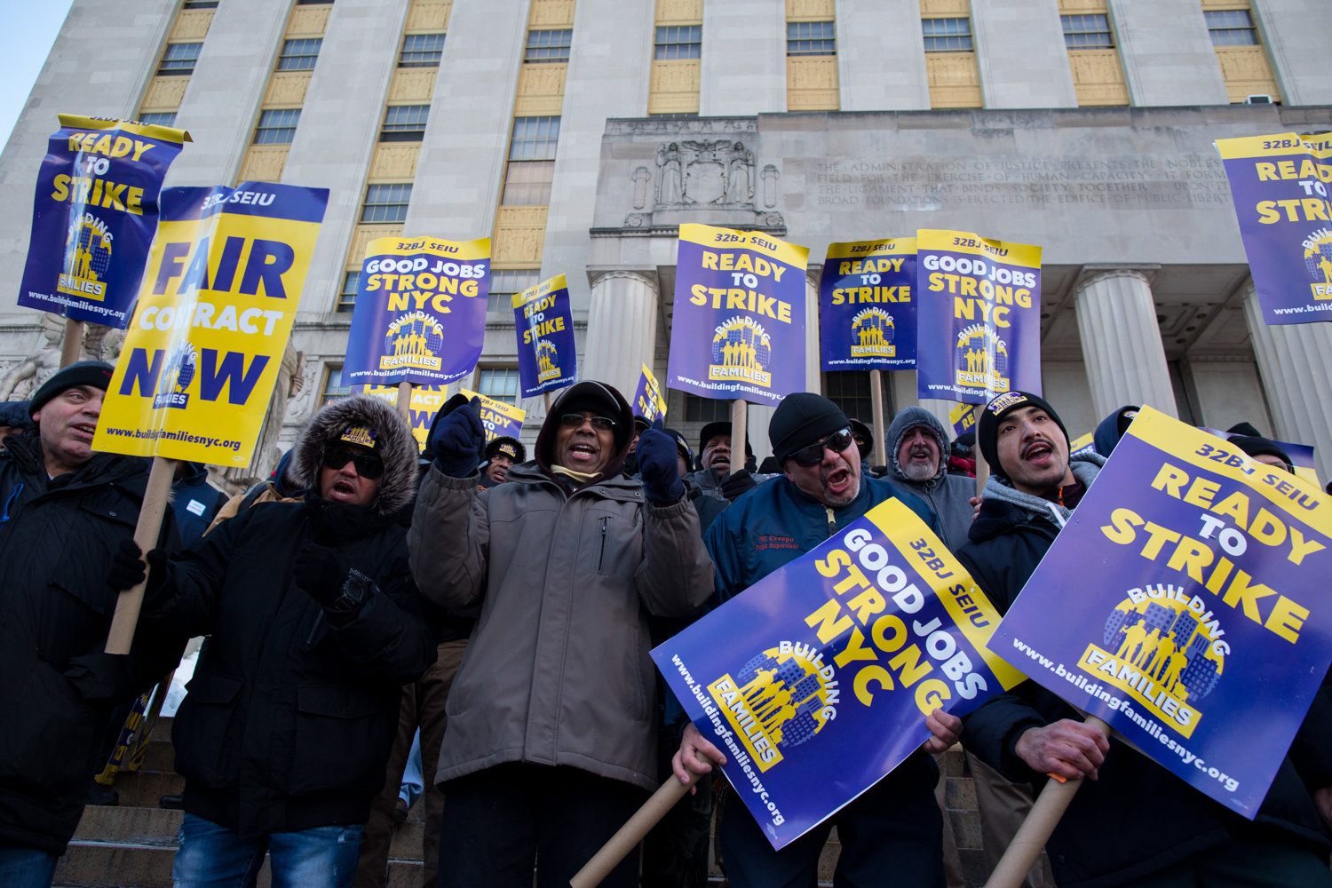 Residential workers voted to authorize a strike after negotiations between 32BJ and the Bronx Realty Advisory Board collapsed.  They held a rally on March 6.