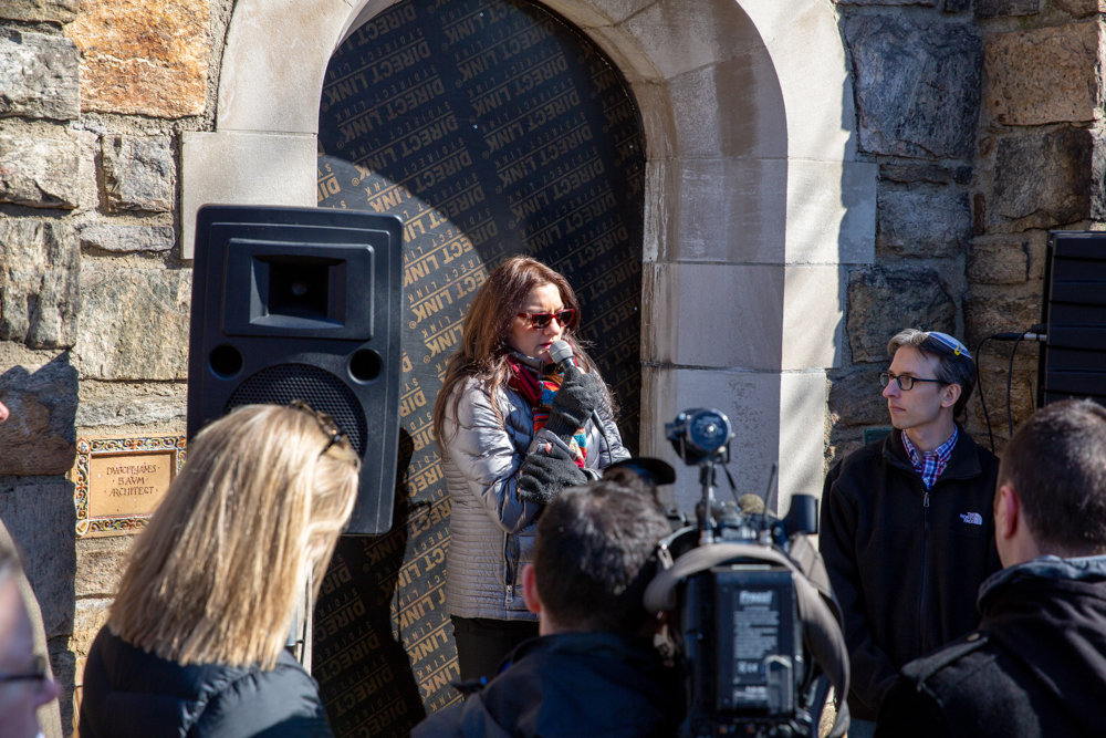 Mehnaz Afridi, professor of religious studies at Manhattan College, speaks at a March 17 vigil at the Riverdale Monument to honor the memories of the 50 victims who died in a shooting rampage at two mosques in Christchurch, New Zealand, two days before.
