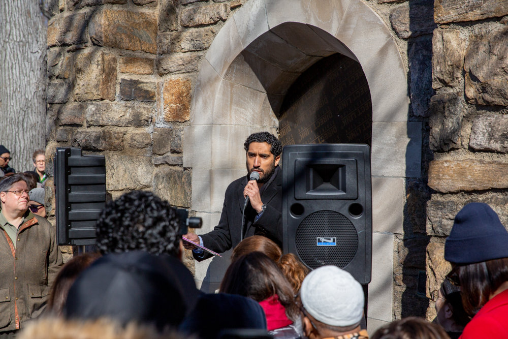 Yassine Taoufik, imam of the Abrar, speaks about the importance of community at a March 17 vigil at the Riverdale Monument to honor the memories of the 50 victims who died in a shooting rampage at two mosques in Christchurch, New Zealand, two days before.
