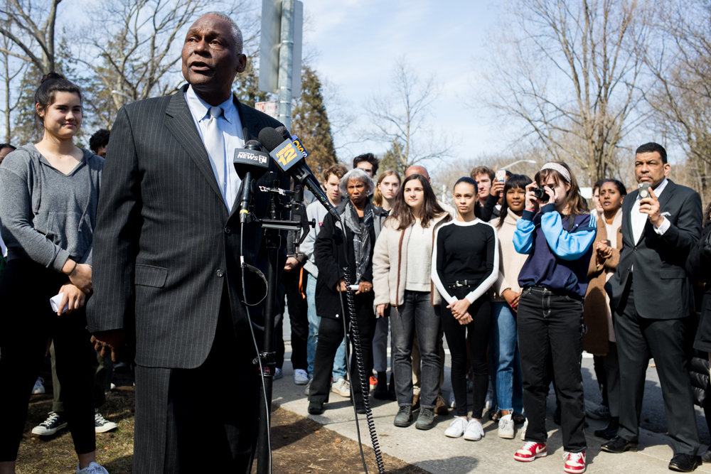 Keith Wright, an Ethical Culture Fieldston School alumnus, speaks at a press conference about students' success in demanding the administration tackle robust reforms to address what organizers described as deep-seated racial issues.