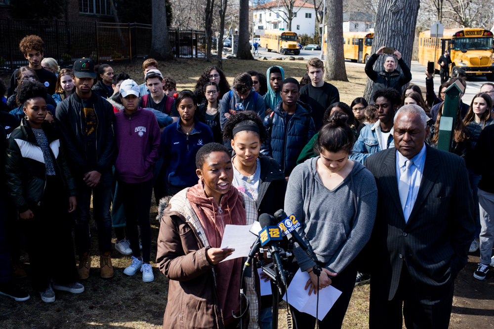 Ethical Culture Fieldston School senior Kiah George speaks at a press conference following a multi-day occupation of the private school's administrative building. It was there students demanded administrators take stronger steps toward combating racism at the reputedly progressive institution.