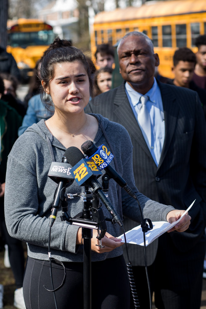 Willa Ferrer, a senior at Ethical Culture Fieldston School, speaks at a press conference following a multi-day occupation of the school's administrative building. During the lockout, students demanded administrators take stronger steps toward addressing what some students decried as systemic racism.