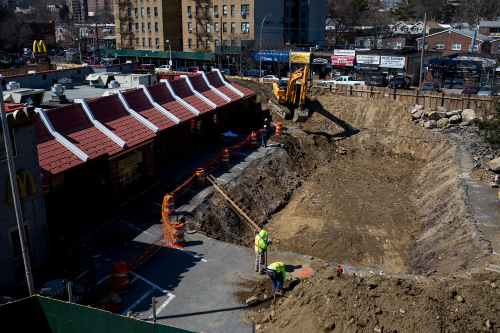The McDonald's at 5765 Broadway is in the midst of a major overhaul with ongoing construction and a giant pit that has attracted the attention of passersby. Its grand reopening is slated for the thick of barbecuing season.