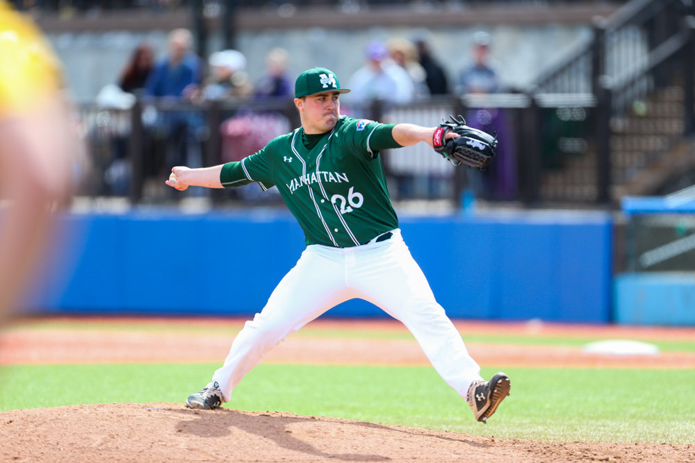 Junior right-hander T.J. Stuart will headline Manhattan's starting rotation this season. Stuart set a school record last season recording 10 saves out of the Jaspers' bullpen.