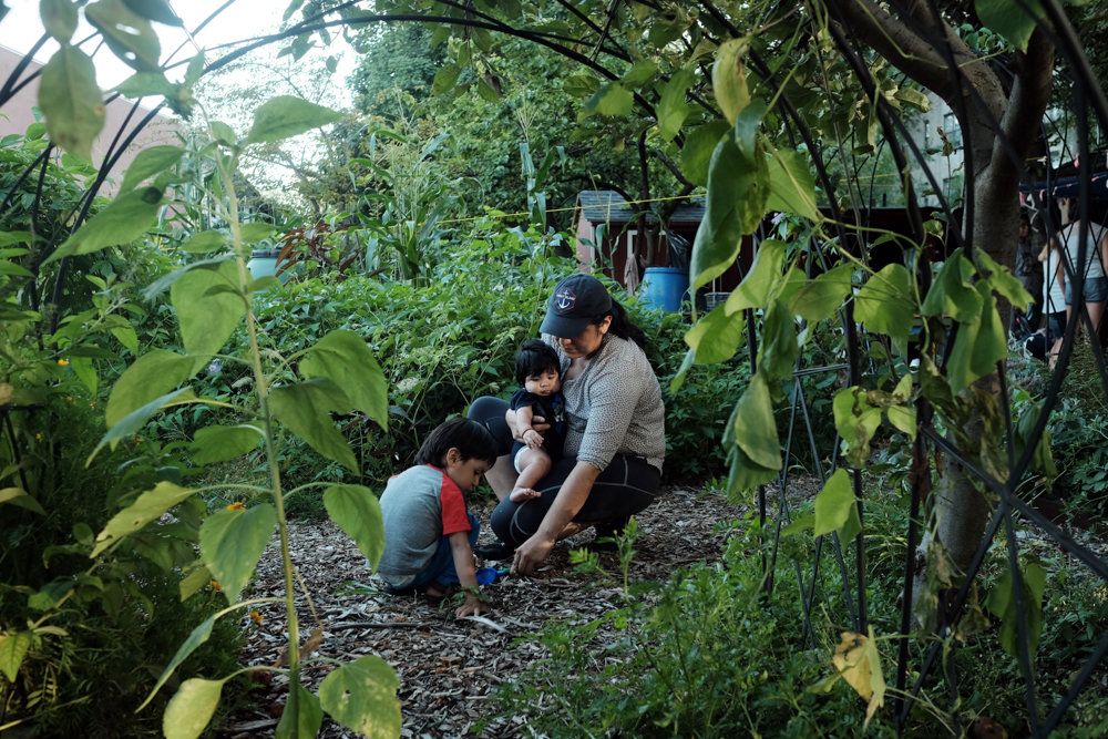 Lucia Garcia plays with her children on a path in the Garden of Youth last year, a place her family uses as a hangout space. 'Putting Down Roots: Celebrating 30 Years of Bronx Green-Up' is on display at the New York Botanical Garden's Ross Gallery through April 28.