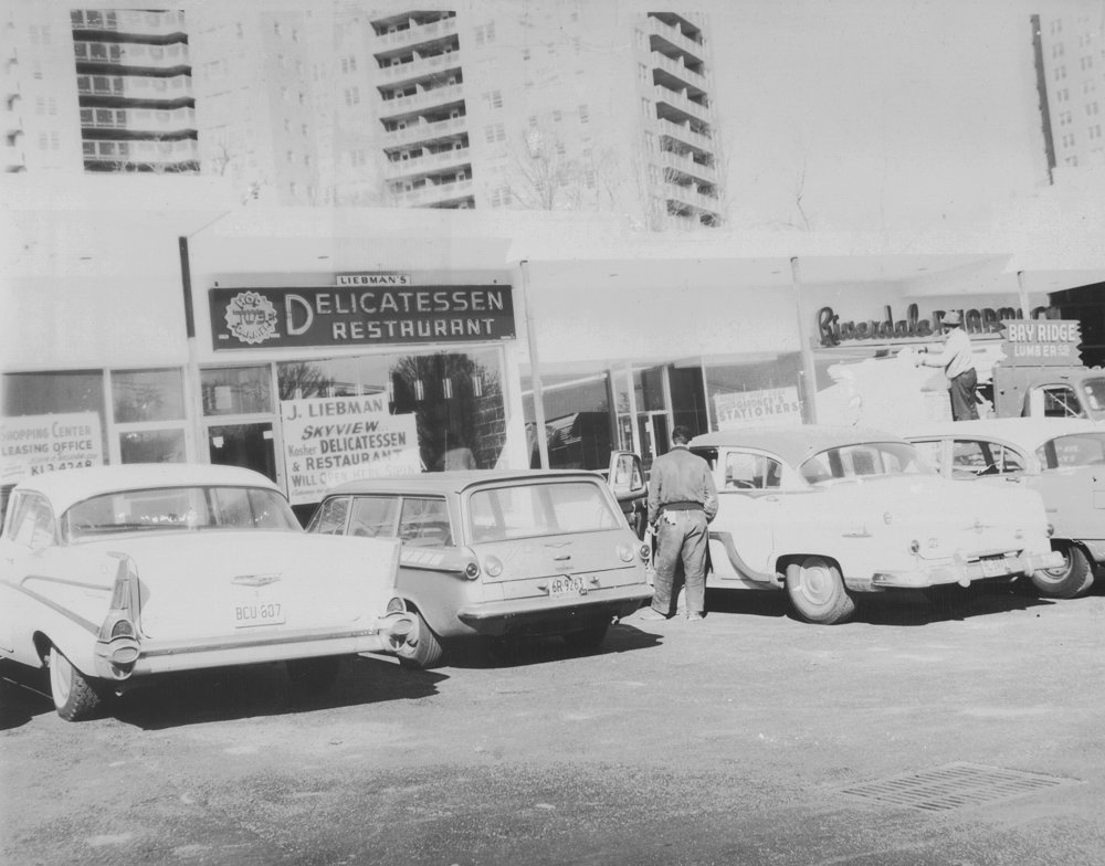 A photograph from 1963 shows the Skyview Shopping Center where Riverdale Stationery & Candy operated between Liebman's Delicatessen and Riverdale Pharmacy. The store closed last month.