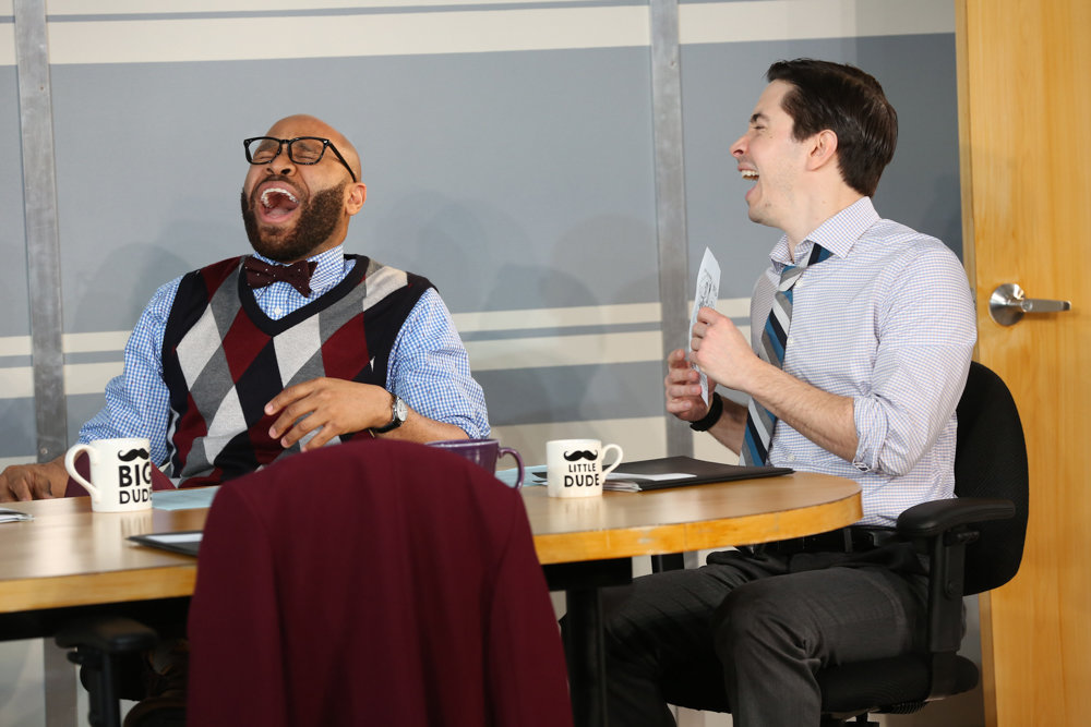 Who better to seek out empathy from a coach than people working in a debt collection office, including characters played by Ugo Chukwu, left, and Justin Long.