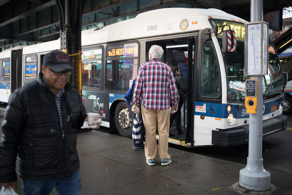 Commuters board a Bx9 bus at the corner of West 231st Street and Broadway. Changes may be coming to the MTA's beleaguered bus system as the agency looks to improve its offerings, although it needs more public input.