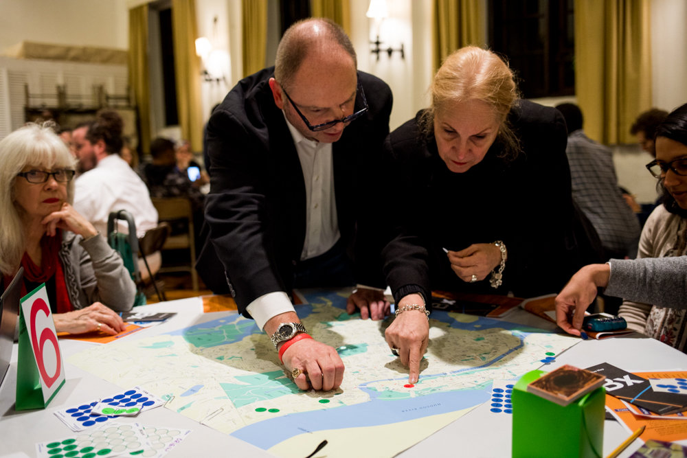 Participants in an MTA workshop at Christ Church Riverdale last year plot out their daily transit route. The workshop was part of MTA's initiative to better understand commuter needs and grievances while looking to improve bus service.
