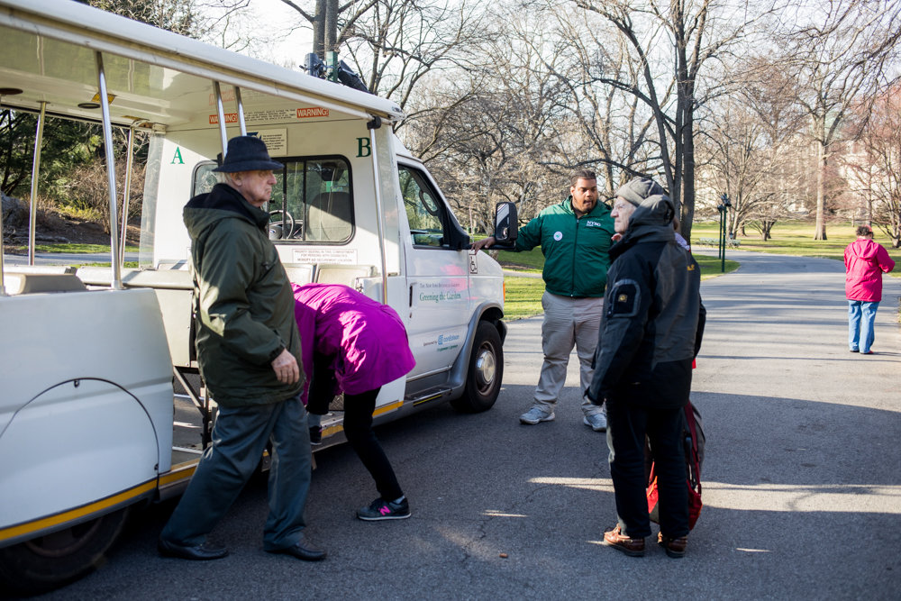 Visitors disembark from the tram at the New York Botanical Garden. The garden's tram fleet could get a $1 million overhaul.