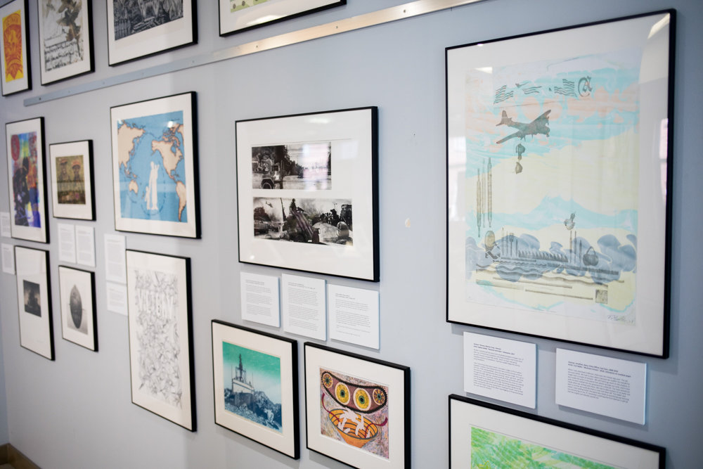 The artworks on display in 'Experiencing Veterans and Artists Collaboration' cover a range of stories and experiences. Artists created pieces inspired by the stories of veterans. It is on display through June 21.