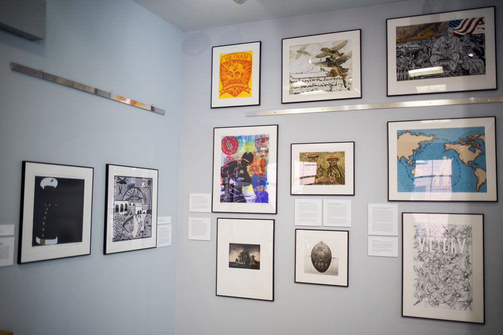 'Experiencing Veterans and Artists Collaboration,' a new exhibition on display at Manhattan College, offered veterans a chance to have their stories interpreted artistically. They met with artists, who in turn created pieces based on those stories.
