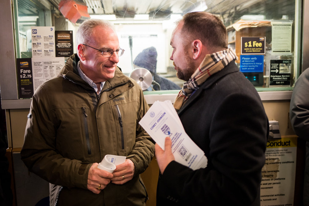 Assemblyman Jeffrey Dinowitz, left, talks with city council Speaker Corey Johnson during a transit tour in January. Dinowitz scored a victory for Bronx residents during the negotiations on congestion pricing wherein they would no longer have to pay the toll on the Henry Hudson Bridge.
