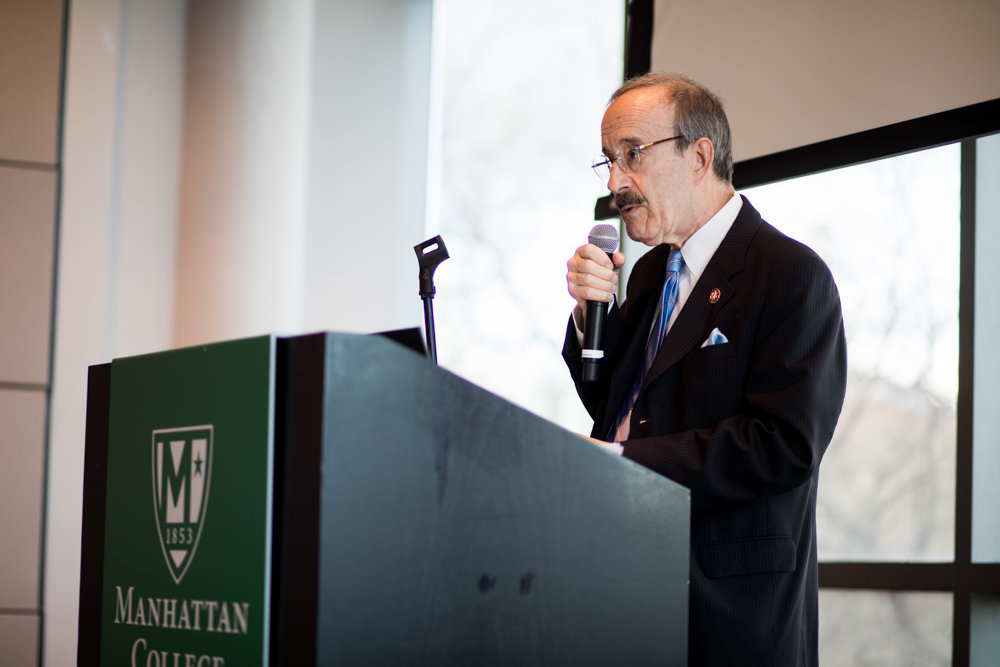 U.S. Rep. Eliot Engel feels a more humane approach to the migration crisis is necessary, and sharply disagrees with President Trump's rhetoric toward asylum seekers. Engel spoke at length about the crisis at Manhattan College on April 15.