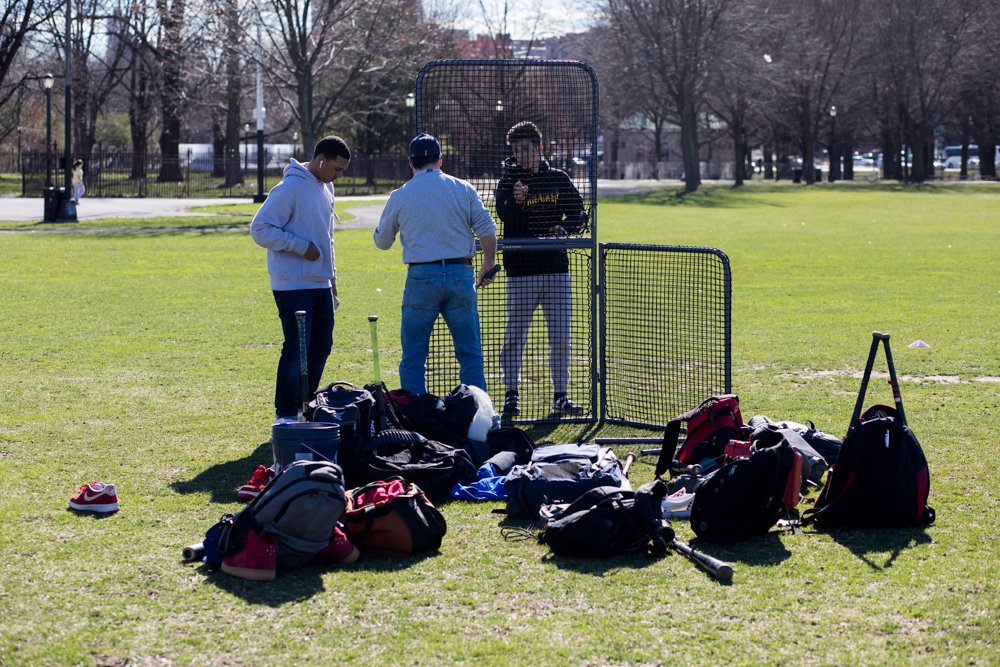RKA head coach John Reingold and his players unpack their bags and equipment after finally finding a place to practice in Van Cortlandt Park.