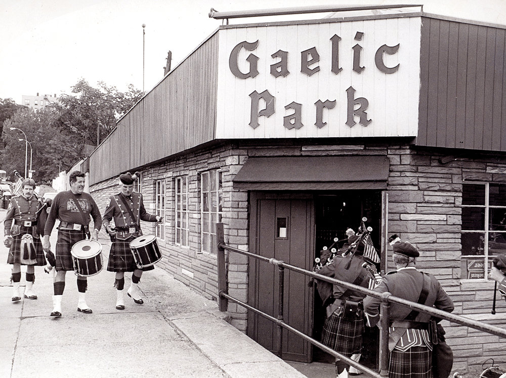 The Emerald Society Bagpipe Band enters Gaelic Park in 1988. The old banquet hall and administrative offices of the New York Gaelic Athletic Association at Gaelic Park were demolished last month. The association plans to build a new hall with modern locker rooms, expanded storage and offices.