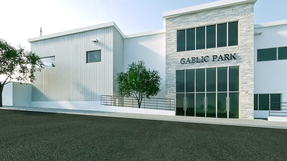 A rendering shows the potential redesign for Gaelic Park. Designed by Gino O. Longo Architect, the new buildings will reinvigorate a space heralded as a home away from home for the Irish diaspora.