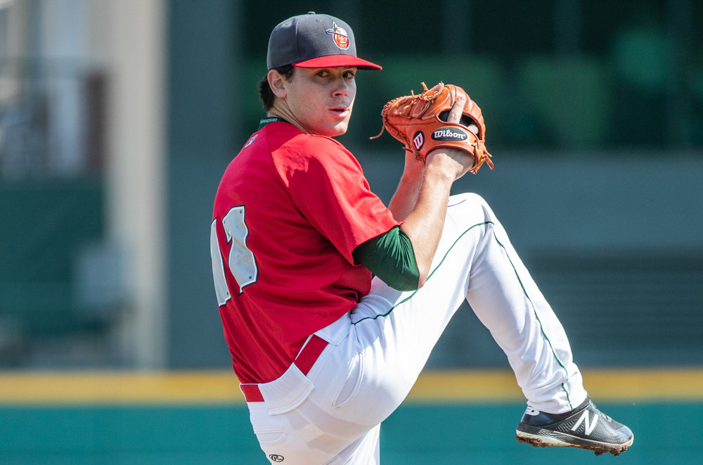 Former Manhattan College ace Tom Cosgrove, shown pitching for the Fort Wayne Tin Caps last season, earned a promotion and the Opening Day pitching assignment for his new team, the Lake Elsinore Storm, this season.