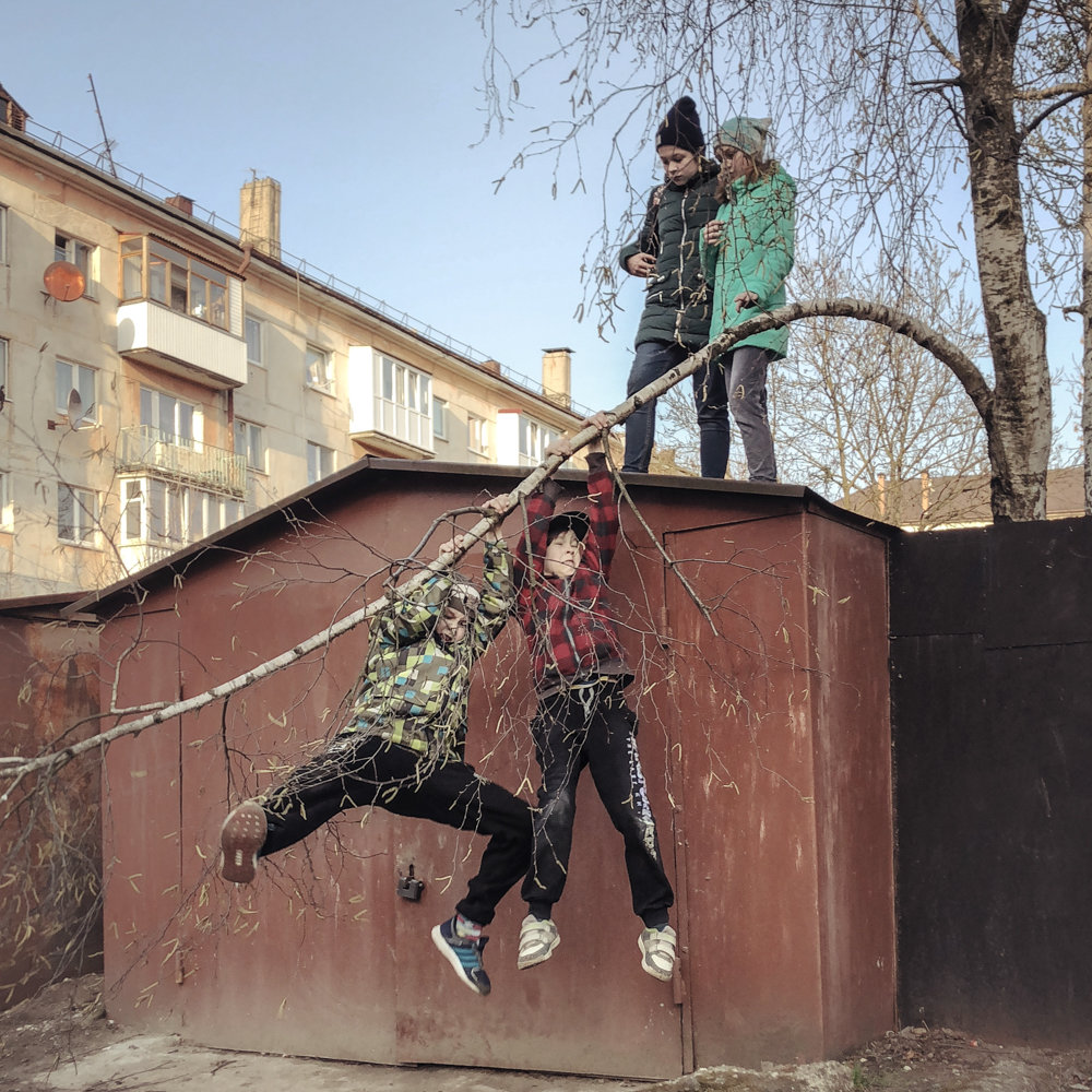 Children play in Kaliningrad, Russia, in 2016, in an image included in 'Draft Russia,' an exhibition of Russian photographer Dmitry Markov's work on display at Agnès B Boutique Galerie through June 4.