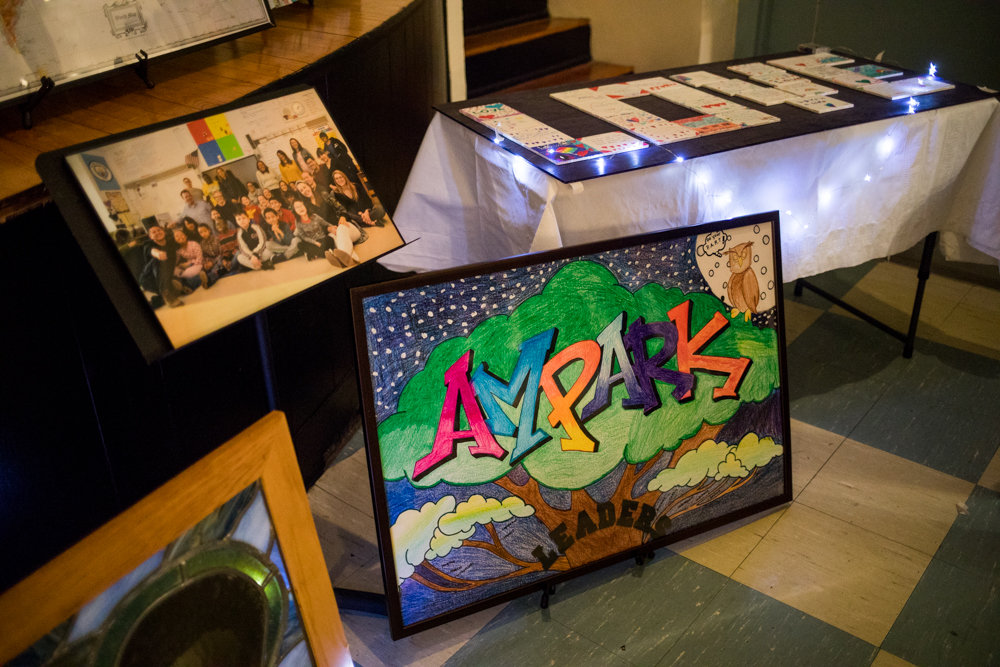 Student-made works of art are among the items up for bid at AmPark Neighborhood School's annual fundraiser at the Amalgamated's Vladeck Hall.
