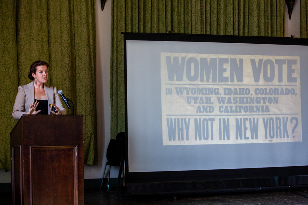 Vivian Davis, education coordinator for the Bronx County Historical Society, talks about how New York was actually not a leader when it came to giving women the right to vote during a women's suffrage exhibition and lecture at Wave Hill.