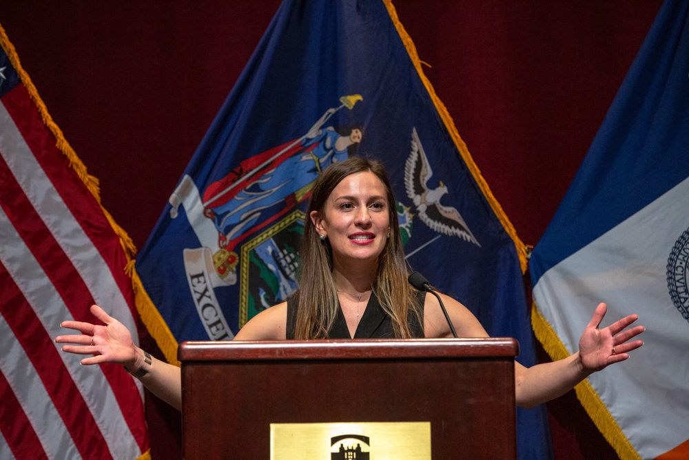 State Sen. Alessandra Biaggi gives her first remarks after taking the oath of office in January. In a bid to help people struggling with eating disorders, Biaggi has sponsored a bill providing improved coverage for care related to those disorders.