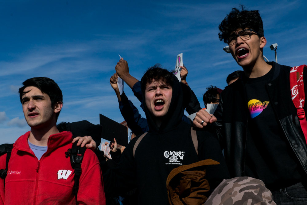 Students from Bronx Science shout 'never again' at a protest against gun violence at Harris Field last year, following the massacre at Marjory Stoneman Douglas High School in Florida. School shootings are a nationwide concern, and a group of parents at P.S. 81 Robert J. Christen School are petitioning for a series of building modifications they say would better protect students and faculty at the Riverdale Avenue school.