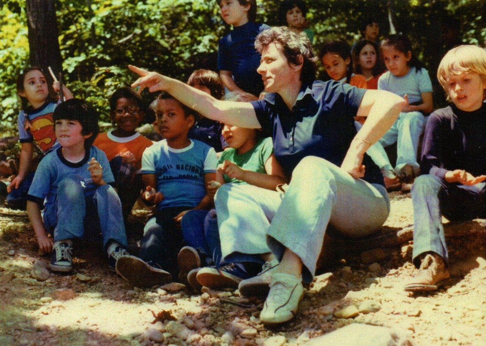 An undated photograph shows Margaret Katz on a birding excursion with her Ethical Culture Fieldston School class, an institution where she taught for 35 years before dying last year. Her progressive approach to education lives on in the curriculum of Fieldston's Lower School.