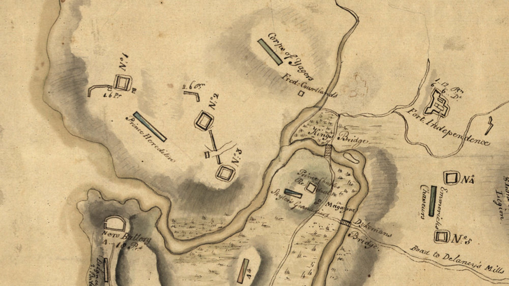 A portion of a map shows the location of Fort No. 2 that was in use during the Revolutionary War. The site of the fort is believed to be an empty lot at the corner of West 230th Street and Fairfield Avenue. Kingsbridge Historical Society president Nick Dembowski is in negotiations with property owner Martin Zelnik to conduct an archaeological dig on the site.